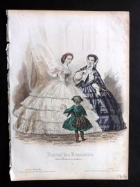 Journal des Demoiselles C1850 Antique Hand Col Fashion Print 70
